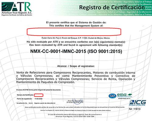 Certificado ATR